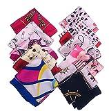 VASANA 10 bufandas cuadradas de satén de 19,7 x 19,7 pulgadas con patrón mixto para mujer, bufanda para cuello, bufanda, pañuelo para el cabello, multiuso, accesorios de estilo