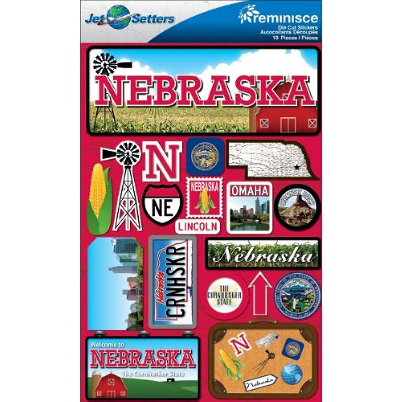 Reminisce Jet Setters Dimensional Stickers-Nebraska