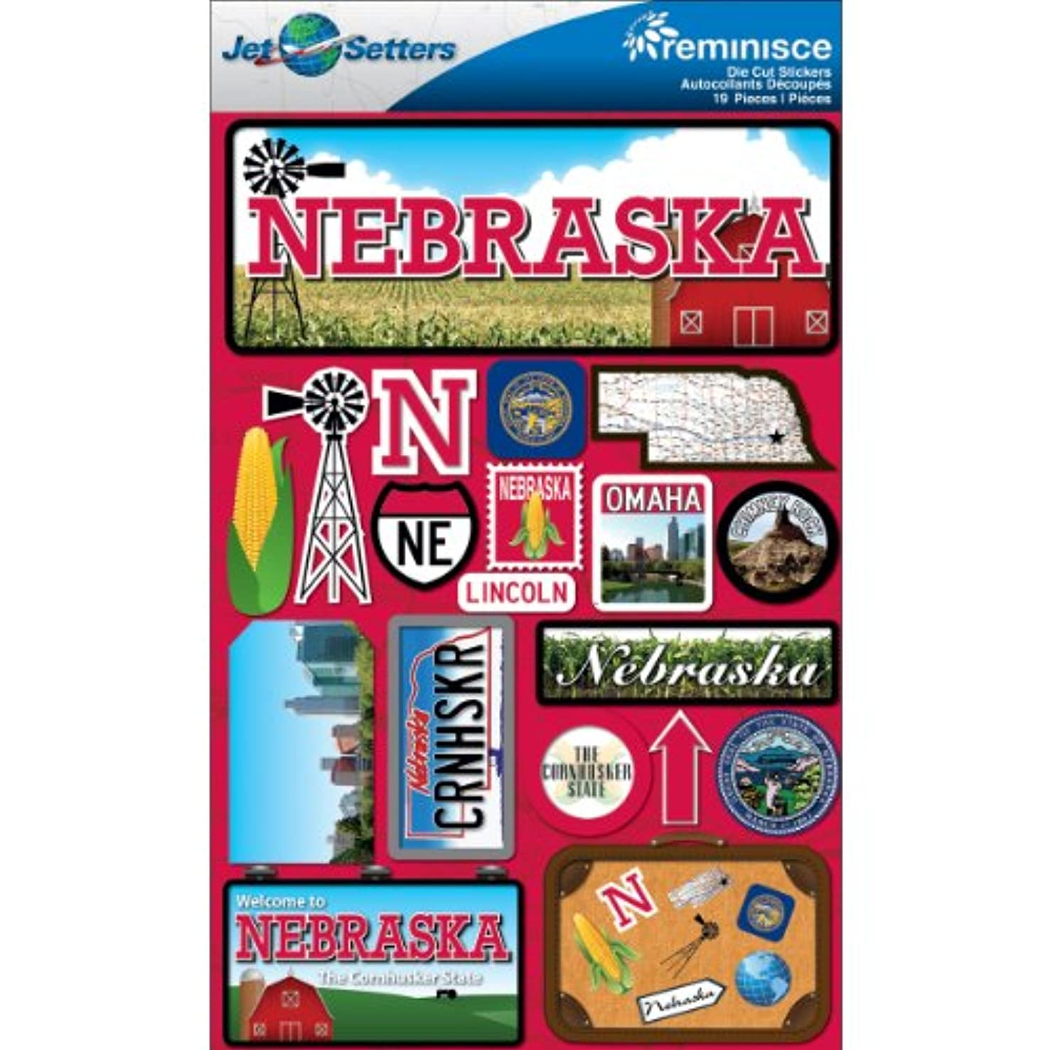 Reminisce Jet Setters Dimensional Stickers-Nebraska