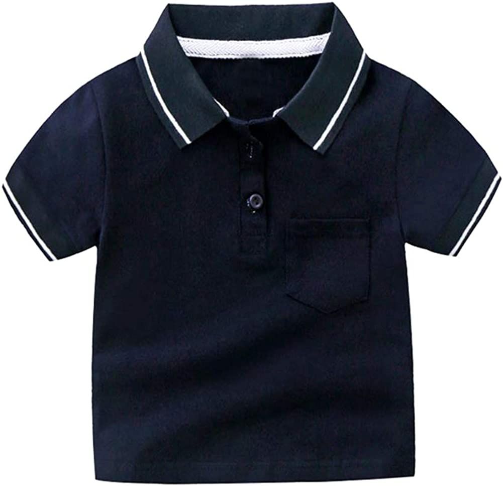 Motecity Fashion Little Boys' Casual Polo-Shirt (2t, Navy)