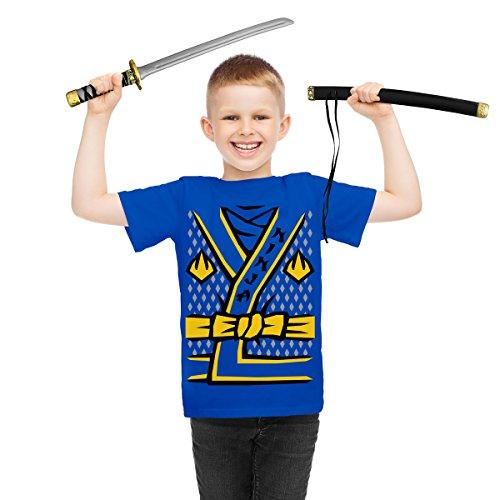 Ninja Samurai Kostüm Verkleidung Karneval Fasching - Kinder T-Shirt + Schwert 152