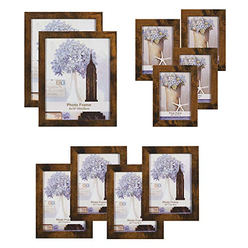 SONGMICS Picture Frames, Set of 10, Two 8 x 10 Inch, Four 5 x 7 Inch, Four 4 x 6 Inch, Collage Photo Frames, Clear Glass Front, Rustic Brown URPF010X01