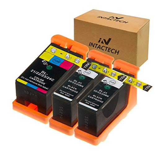 Mejor Intactech Replacement for Dell V515w, V715w, V313w, Series 21, Series 22, Series 23, Series 24 Ink Cartridges 3 Pack (2 Black/1 Color) Work for Dell V313, V313w, V515w, V715w, P513w, P713w Printer crítica 2020