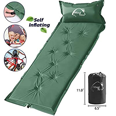 Wisdom Leaves Camping Sleeping Pad Self Inflating Sleeping Mat with Pillow, Air Mattress for Hiking/Camping/Car Travel, Lightweight Camp Sleep Pad for Children/Adults(Indoor Family Outdoor Beach)
