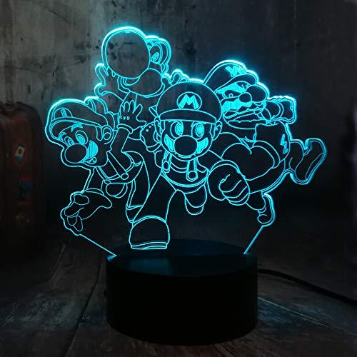 Nettes Spiel Actionfigur Super Mario Brothers Spielzeug 3D LED Mehrfarbiges Nachtlicht 7 Farben Schreibtisch Lampe Dekor Home Party Dekor Kinder Geburtstag Weihnachtsspielzeug