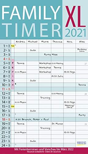 XL Family Timer 2021: Familienplaner mit 6 breiten Spalten. Hochwertiger Familienkalender mit Ferienterminen, extra Spalte, Vorschau bis März 2022 und nützlichen Zusatzinformationen.