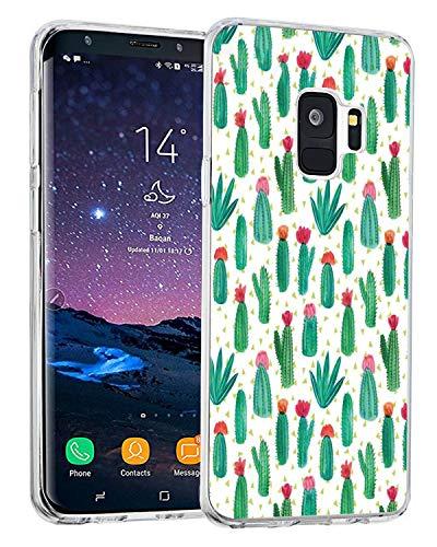 Alsoar Coque Compatible Replacement pour Samsung Galaxy S9, [Liquid Crystal] Ultra Mince Transparent TPU Silicone Étui Protection Bumper Housse Souple pour Samsung S9 (Cactus)