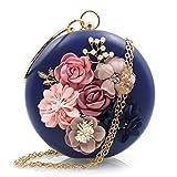 Wanfor Frauen Runde Mini Abendtaschen Geldbörsen Clutch Chic Bankett Handtasche (Blau)