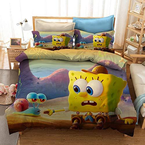 Enhome Bettbezug Bettwäsche Set, 3D Comics Spongebob Druck Bettwäsche-Set Mikrofaser Weiche mit Reißverschluss Bettbezug & Kissenbezüge für Teens Adult (SquarePants7,135x200cm(2pc))