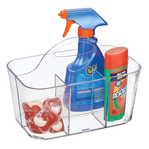 mDesign organizador plástico con 4 compartimentos para su lavadero - Cesta organizadora en color transparente provista de asa para un cómodo transporte - Organice todos sus productos de limpieza