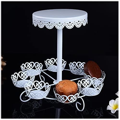 PETAAA Cake Stands Creative Metal Cake Stands, Wedding Party Dessert Display Props 2 Tier Cupcake Tower Standss Food Servers White Lace Metal Stands Easy To Assemble(Color:white)