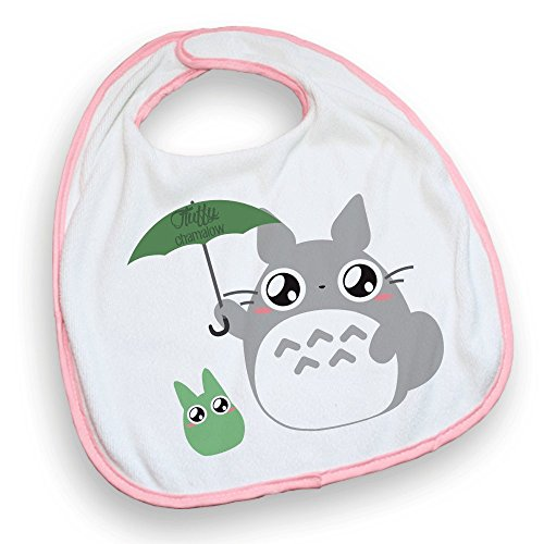 Bavoir rose Totoro Parapluie chibi et kawaii by Fluffy chamalow - Fabriqué en France - Chamalow Shop