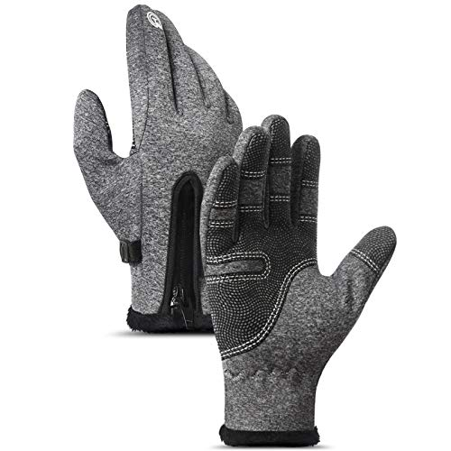 BenBoy Skihandschuhe Warm Handschuhe Touchscreen Winterhandschuhe Wasserdicht Fahrradhandschuhe Motorrad Laufhandschuhe Thermohandschuhe für Herren Damen,ST002-Grey-M