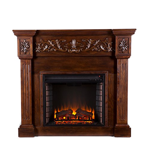 Carved Electric Fireplace - Elegant Mantel Style w/ Floral Trim - Remote Control