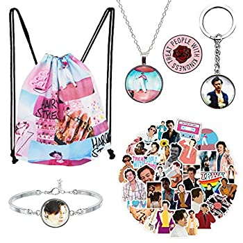 Harry Edward Styles Merch 100 Pcs Harry Edward Stickers and Harry Keychain Bracelet Necklace Treat People with Kindness Badge Brooch Pin and Drawstring Bag for Harry Fans by THREEMAO