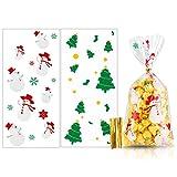 MELLIEX 100 Stück Weihnachten Süßigkeiten Tüten, Cellophantüten Candy Bar Tütchen mit 100er Twist Krawatten für Bonbon Plätzchen Süßigkeiten