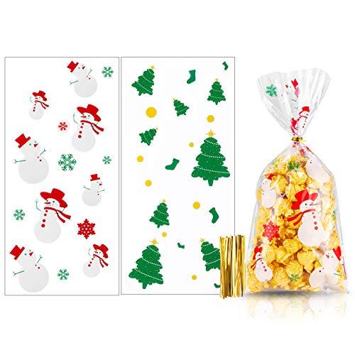 MELLIEX 100pcs Sacchetti Biscotti di Natale Caramelle di Trasparenti Sacchetti di Richiudibili Autoadesivi per Bambini Regali di Natale
