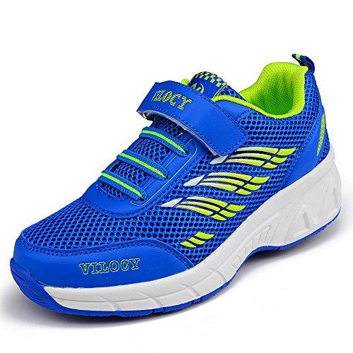 VILOCY Unisex Kids Roller Skates Shoes Girl Boy Trainer Sneakers Wheels Shoes Blue/Pink (EUR30=Insole 18.5cm, Blue)