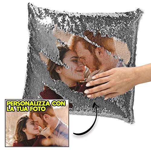 My Digital Print Cuscino Personalizzato con Foto, Cuscino Pailettes Argento, 40x40cm, Idea Regalo per Natale, Regalo San Valentino - con Imbottitura