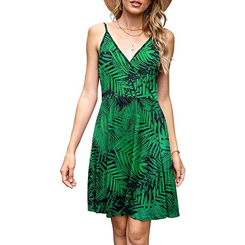LOKKSI - Vestido de cuello en V para mujer, mezcla de algodn, vestido para mujer, vestido de verano, vestido elegante con estampado de flores, vestido vintage sin espalda