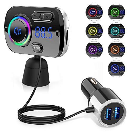 Transmisor FM Bluetooth 5.0 para Coche, 2 USB Carga Rápido QC 3.0 y 5V 2.4A, Manos Libres Reproductor MP3 Coche, Adaptador de Radio Apoyo U Disk Tarjeta TF/SD AUX Port, SIRI/Google con Luz Colorida