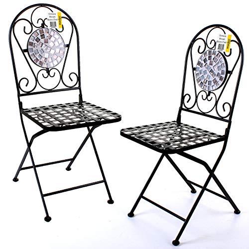 Marko Outdoor Sets of 2 Mosaic Bistro Chairs Outdoor Garden Patio Furniture Cafe Al Fresco Dining (Orotava)