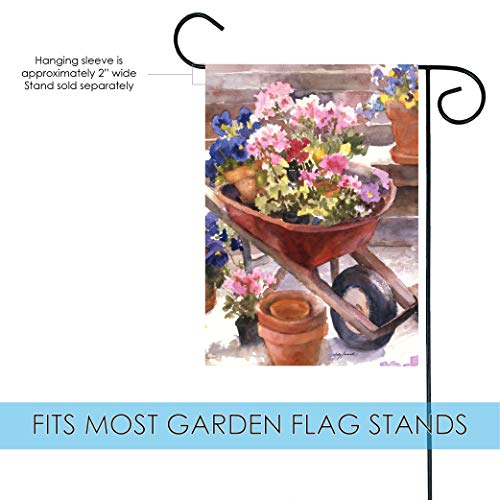 Toland Home Garden 117213 Red Wheelbarrow 12.5 x 18 Inch Decorative, Garden Flag-12.5