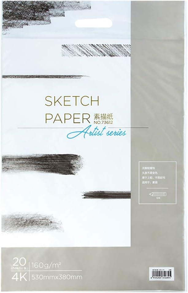 White Drawing Sketch Paper,110g//160g//180g,4K//8K,Pack 20 Sheets