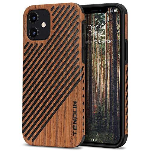 TENDLIN Kompatibel mit iPhone 12 Hülle/iPhone 12 Pro Hülle Holz & Leder Hybrid Handyhülle (Rotes Sandelholz)
