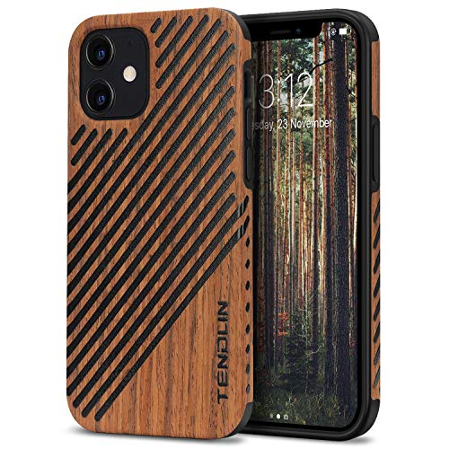 TENDLIN Compatible with iPhone 12 Mini Case Wood Grain Outside Design TPU Hybrid Case (Wood & Leather)