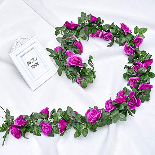 Whaline 2 Pack Fake Rose Vine Flowers Plants, 15ft Purple Artificial Flower Hanging Rose Garlands, for Home Hotel Office Wedding Party Garden Craft Art Decor, Arch Arrangement Decoration