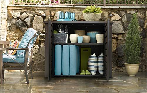 Rubbermaid Extra Large Decorative Patio Storage, Weather Resistant Outdoor Storage Cabinet, Dark Teak