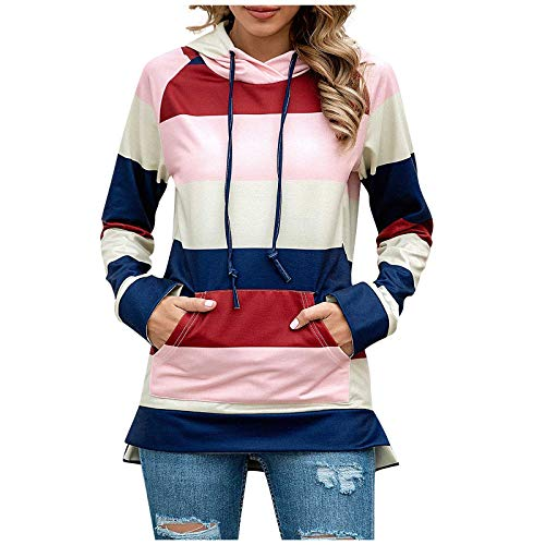 SEEGOU Hoodie Damen Mode Crewneck Colorblock Streifen Top Bluse Jumper T-Shirt