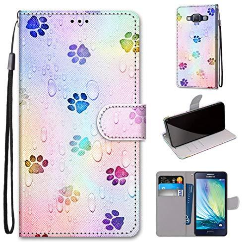 Samsung Galaxy A5 (2015) Hülle, SATURCASE Schön PU Lederhülle Magnetverschluss Brieftasche Kartenfächer Standfunktion Handschlaufe Schutzhülle Handy Tasche Hülle für Samsung Galaxy A5 (2015) (DK-33)