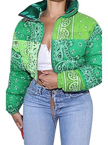 YU MENG Abrigo de Mujer Casual a Juego de Color, Cuello Alto, Cremallera, Abertura Frontal, patrón Irregular, Abrigo (Green, S)