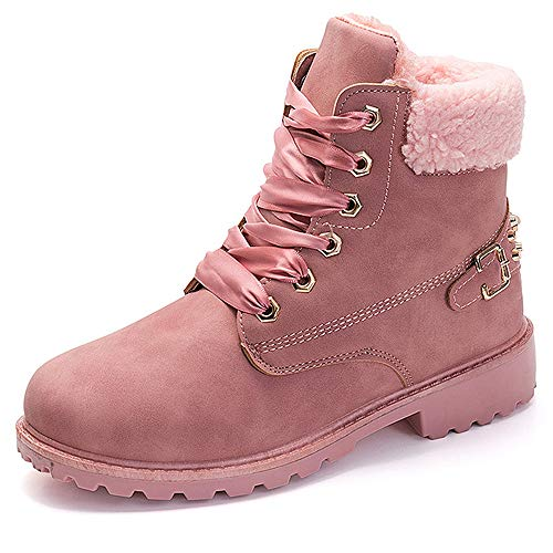 Chaussures Bottes Hiver De Neige Femme Bottines Fourrees Cuir Talons Plats Boots avec Doublure Chaud Fourrure