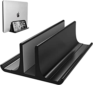 Vertical Laptop Stand Holder Adjustable Desktop Notebook Dock Space-Saving Three-in-one for All MacBook Pro Air, Mac,HP, Dell, Microsoft Surface,Lenovo, up to 17.3 inch Black…