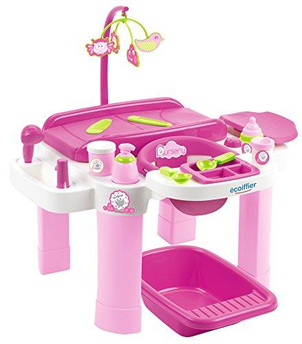 Ecoiffier – Pflegecenter für Puppen – Badewanne, Wickeltisch, Puppenhochstuhl, mit viel Puppen-Zubehör, für Kinder und Kleinkinder ab 12 Monaten, rosa