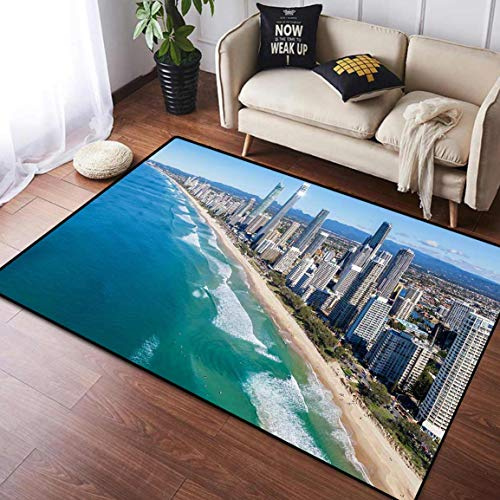 Home Decoration Area Rug Rubber Anti-Skid Backing Carpet, Sunny View of Gold Coast Queensland Australia, Suitable for Children Bedroom Home Decor Nursery Rugs Mat, 4' x 6'