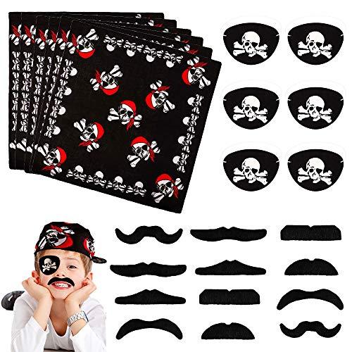 DECARETA Set di 24 Pezzi Accessori Pirati con 6 Bandana da Pirata Nera e 6 Baffi Finti Pirata e 12 Benda Occhio Pirata per Festa a Tema Pirata Travestimento da Pirata per Regalo di Bambini Compleanno