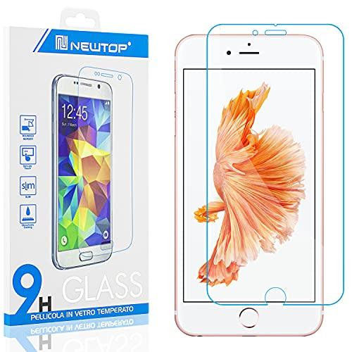 N NEWTOP [1 unidad] Protector de pantalla compatible con iPhone 6 Plus y 6S Plus, GLASS FILM 0,3 mm 9H vidrio templado protector de pantalla pantalla anti golpes protección