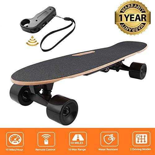 Oppikle Elektro Longboard E Skateboard Elektrisches City Scooter Elektrolongboard mit Fernbedienung und Motor - Reichweite Ca 10 km - Geschwindigkeit 20km/h (Schwarz-Style2)