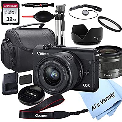 Canon EOS M200 Mirrorless Digital Camera with 15-45mm Lens + 32GB Card, Tripod, Case, and More (18pc Bundle) from Al's Variety