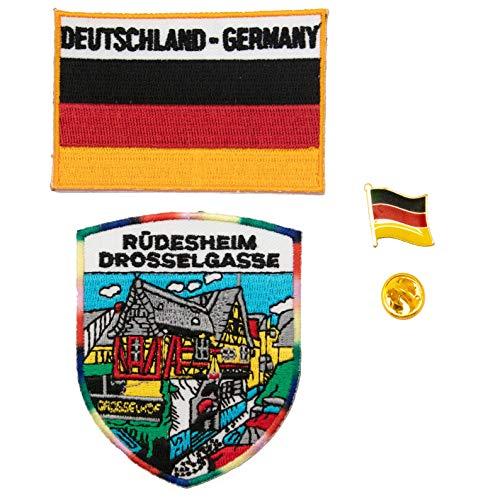 A-ONE 3 Stück Ruedesheim Hot Leather Patch + Deutsche Flagge 3D Tactical Patch Deutsch Land Flagge Reversnadel Rüdesheim Applique Patch & Ranger-Pin Dekorationen für Krawatten Kleidung Rucksäcke
