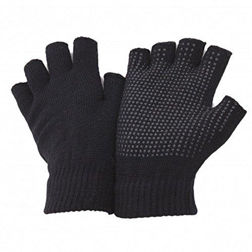 FLOSO - Mitaines thermiques extensibles, avec accroches en PVC sur la paume - Adulte unisexe (Taille unique) (Noir)