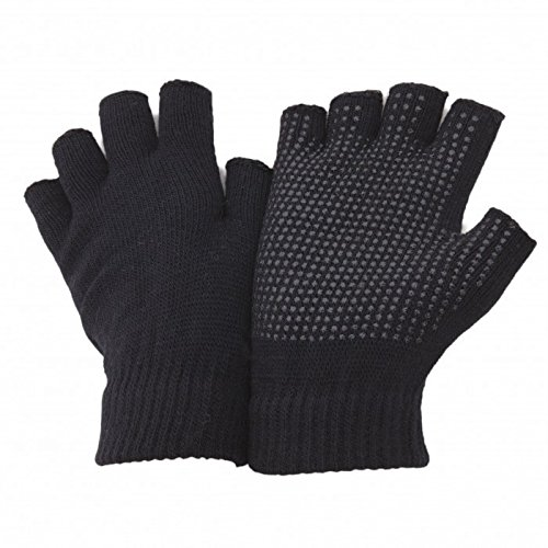 FLOSO- Mitones/ Guantes de agarre sin dedos unisex (Talla única entallada/Negro)