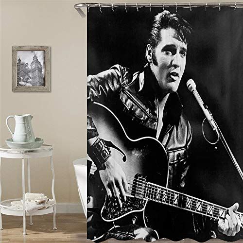 BARTORI Cartoon Decor Shower Curtain The Superstar Elvis Presley Hold The Guitar Black and White Photograph Waterproof Polyester Fabric Bath Curtain with Hooks and Size 71''X71''