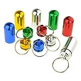 Monkeybrother 6 Pillendose aus Aluminium, wasserdicht, Schlüsselanhänger, mehrfarbig