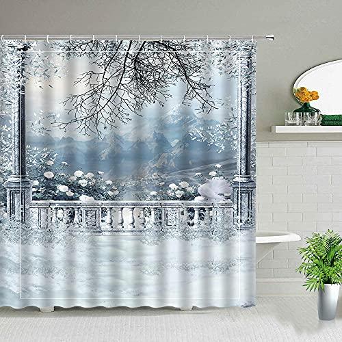 Duschvorhang-Set für Badezimmer, Motiv: Winter/Schnee, Tanne, Wald, Weihnachtsbaum, wasserdicht, 180 x 200 cm (B x H)