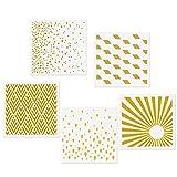 CODOHI 5 Mixed Media Stencils Set - Raindrops, Spray Dot, Sunlight, Rhombus, Mountain Peak Designs, 5.9x5.9' Templates for Arts Card Making Journaling Scrapbooking DIY Furniture Wall Floor Decor